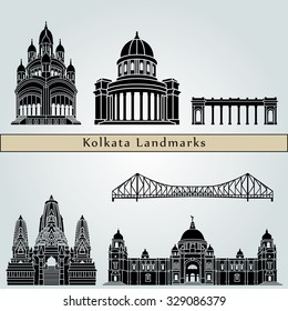 Kolkata landmarks and monuments isolated on blue background in editable vector file