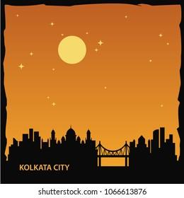 Kolkata Skyline City Logo Vector