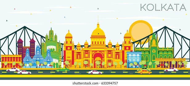 Kolkata Skyline with Color Landmarks and Blue Sky. Vector Illustration. Business Travel and Tourism Concept with Historic Buildings. Image for Presentation Banner Placard and Web Site.