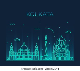Kolkata skyline, detailed silhouette. Trendy vector illustration, linear style.