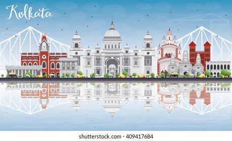 Kolkata Skyline with Gray Landmarks, Blue Sky and Reflections. Vector Illustration. Business Travel and Tourism Concept with Historic Buildings. Image for Presentation Banner Placard and Web Site.