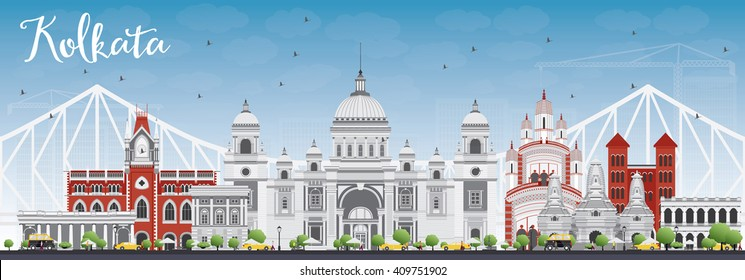 Kolkata Skyline with Gray Landmarks and Blue Sky. Vector Illustration. Business Travel and Tourism Concept with Historic Buildings. Image for Presentation Banner Placard and Web Site.