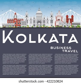 Kolkata Skyline with Gray Landmarks and Copy Space. Vector Illustration. Business Travel and Tourism Concept with Historic Buildings. Image for Presentation Banner Placard and Web Site.