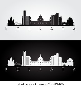 Kolkata skyline and landmarks silhouette, black and white design, vector illustration.