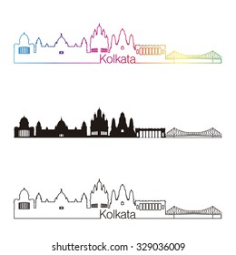 Kolkata skyline linear style with rainbow in editable vector file