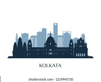 Kolkata skyline, monochrome silhouette. Vector illustration.