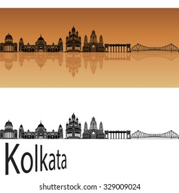 Kolkata skyline in orange background in editable vector file