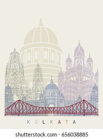 Kolkata skyline poster in editable vector file