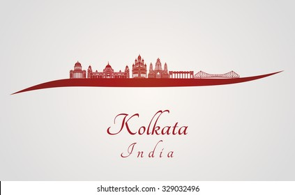 Kolkata skyline in red and gray background in editable vector file
