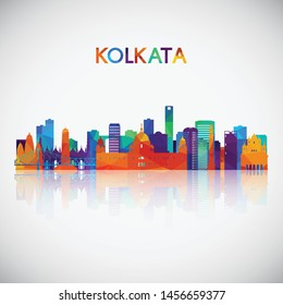 Kolkata skyline silhouette in colorful geometric style. Symbol for your design. Vector illustration.