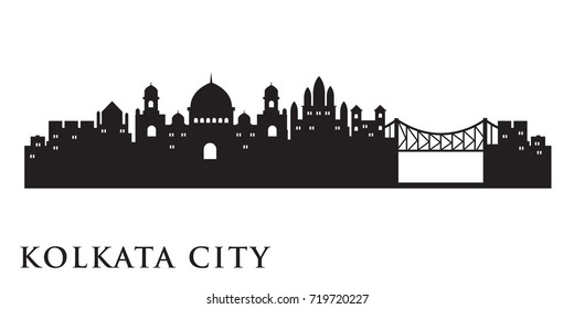 Kolkata Skyline Silhouette Skyline  Vector City Design