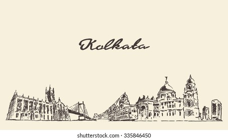 Kolkata skyline, vector vintage engraved illustration, hand drawn