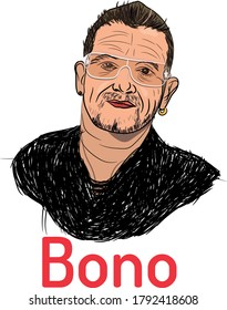 Kolkata,9 Sunday, August 2020 : vector illustration of Paul David Hewson known by his stage name Bono who is an Irish singer-songwriter, venture capitalist, businessman, and philanthropist.