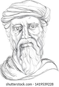 kolkata,west bengal,India,june,9,2019  sketch illustration of Pythagoras who was a Greek philosopher and the eponymous founder of Pythagoreanism
