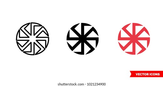 Kolovrat slavic symbols icon of 3 types: color, black and white, outline. Isolated vector sign symbol.