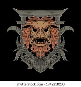 Komainu fu dog lion animal illustration