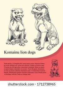 Komainu Lion Dogs, Asian guardian dogs. Line art vector drawing poster design illustration