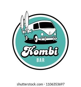 Kombi Surf Beach Bar vector emblem logo illustration