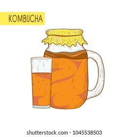 Kombucha. Bank and a glass. On a white background. Sketch.