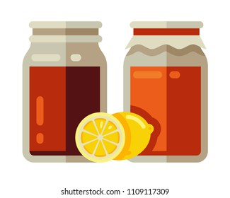 kombucha fermented in jar with lemon in flat style vector illustration