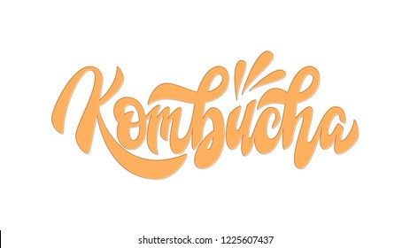 Kombucha hand written vector logo. Kombucha healthy fermented probiotic tea. Cleanly vectorized hand lettering, calligraphy. Text sign design for logo, print, cool badge, packaging, label.