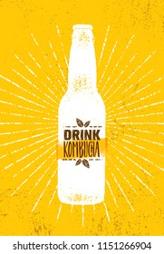 Kombucha Tea Brewery Natural Healthy Soft Drink Illustration Concept. Bio Raw Nutrition Food Vector Illustration On Rough Textured Background.