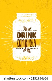 Kombucha Tea Brewery Natural Healthy Soft Drink Illustration Concept. Bio Raw Nutrition Food Vector Illustration On Rough Textured Background