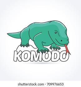 Komodo dragon. Large species of lizard found in the Indonesian islands of Komodo
