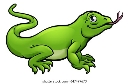 A Komodo dragon lizard cute cartoon character