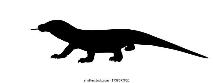 Komodo dragon vector silhouette illustration isolated on white background. (Varanus komodoensis), also known as Komodo monitor. Biggest lizard from  Indonesia.