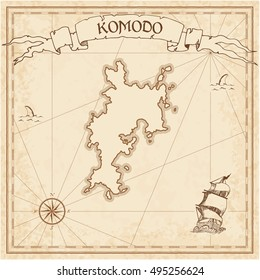 Komodo old treasure map. Sepia engraved template of treasure island map parchment. Vector stylized manuscript of treasure island of Komodo on vintage paper.