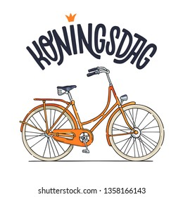 Koningsdag design template with orange bike and hand lettering. Dutch national holiday. Can be used for poster, card, invitation, cover, flyer and more.