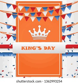 Koningsdag and King's Day design template for poster, card, invitation, header, cover, placard, brochure, flyer and more. - Vector