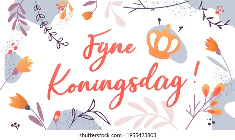 Koningsdag or King's Day in the Kingdom of the Netherlands. Crown with tulips and text. Greeting card or banner to celebrate the national holiday on 27 april. Willem Alexander birthday. Isolated.