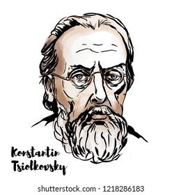 Konstantin Tsiolkovsky watercolor vector portrait with ink contours. Russian and Soviet rocket scientist and pioneer of the astronautic theory.
