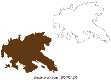 Konstanz district (Federal Republic of Germany, rural district, Baden-Wurttemberg State) map vector illustration, scribble sketch Constance map