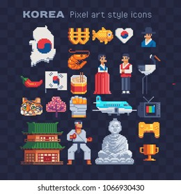 Korea elements of national culture travel landmark pixel art 80s style icons set, Korean flag and seafood, tourist plane and people in national clothes isolated illustration. Design logo, app, sticker