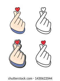 """Korea finger heart vector illustration. Korean Finger Heart """"I Love You"""" Hangul Vector illustration. Korean symbol hand heart, a message of love hand gesture. Sign icon stylized for the web and print."""