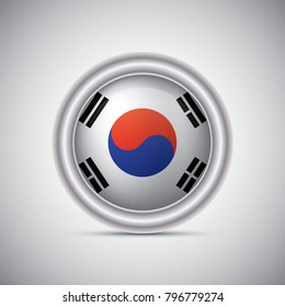 Korea flag button style. Vector image