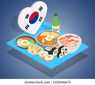 Korea food concept banner. Isometric banner of korea food vector concept for web, giftcard and postcard
