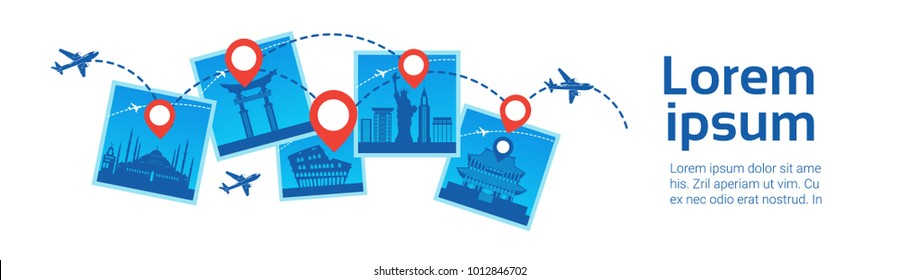Korea Landmarks Travel Destanations Concept Plane Fly Over Famous Buildings Template Background Flat Vector Illustration