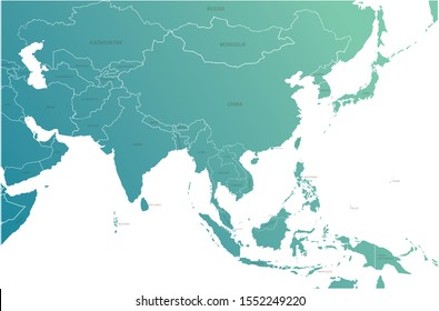 korea map. asia countries map with named