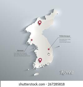 Korea map blue white card paper 3D vector