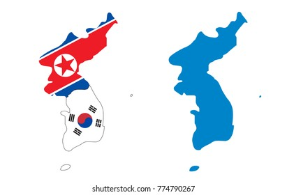 Korea Map of North and South : illustrator vector