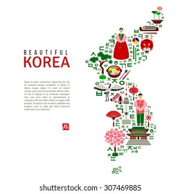 Korea map silhouette with flat colorful icons. Landmark concept. Traditional clothes and cuisine, architecture and nature, letters of Korean alphabet. Stamp with hieroglyph for 'Blessing'. Vector.