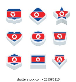 korea north flags icons and button set nine styles