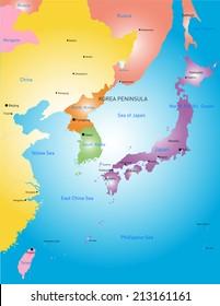 Korea peninsula vector color map