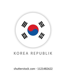 Korea Republic Button Flag Vector Template Design Illustrator