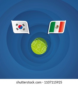Korea Republic vs Mexico flags abstract soccer stadium background