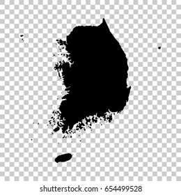 Korea South map isolated on transparent background. Black map for your design. Vector illustration, easy to edit.